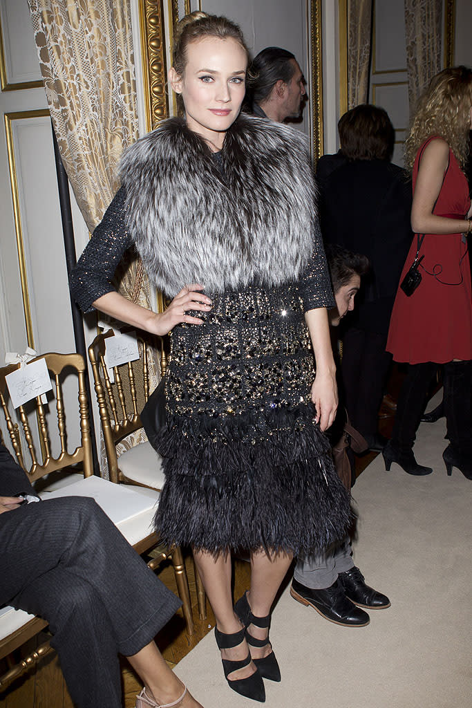 """Diane Kruger is as well known for her red carpet choices as she is for her acting career, which includes movies such as """"Inglourious Basterds."""" A former model, she has referred to Chanel's creative director Karl Legerfeld as her """"stepfather,"""" because she's known the fashion legend since she first struck a pose for Chanel at age 15. However, Diane's obsession with couture extends to other brands, too. """"I truly, genuinely like clothes. Making them is an art form, and wearing them is a form of self-expression,"""" she told <em><i>Glamour</i></em> last year. """"I find it very emotional because I can remember moments in my life — my mood, how I felt — through these clothes."""""""