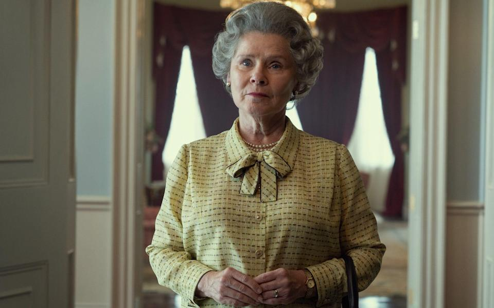 Netflix said in a statement: 'An early glimpse of our new Queen Elizabeth II, Imelda Staunton' - Netflix/The Crown