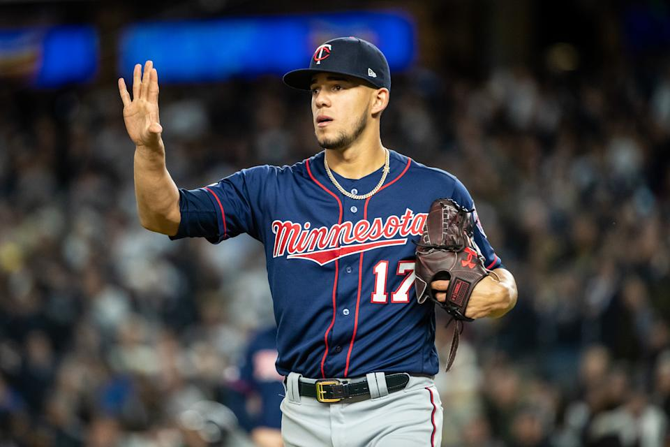 NEW YORK, NY - OCTOBER 04: Jose Berrios #17 of the Minnesota Twins looks on against the New York Yankees on October 4, 2019 in game one of the American League Division Series at Yankee Stadium in the Bronx borough of New York City. (Photo by Brace Hemmelgarn/Minnesota Twins/Getty Images)