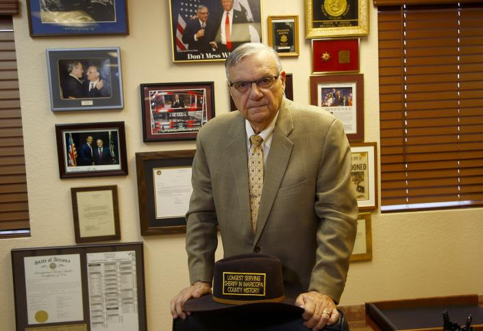 Former Arizona Maricopa County Sheriff Joe Arpaio poses for a portrait after talking about trying to get back the job he lost in 2016 as he announces his 2020 campaign for Maricopa County Sheriff Monday, Aug. 26, 2019, in Fountain Hills, Ariz. (Photo: Ross D. Franklin/AP)