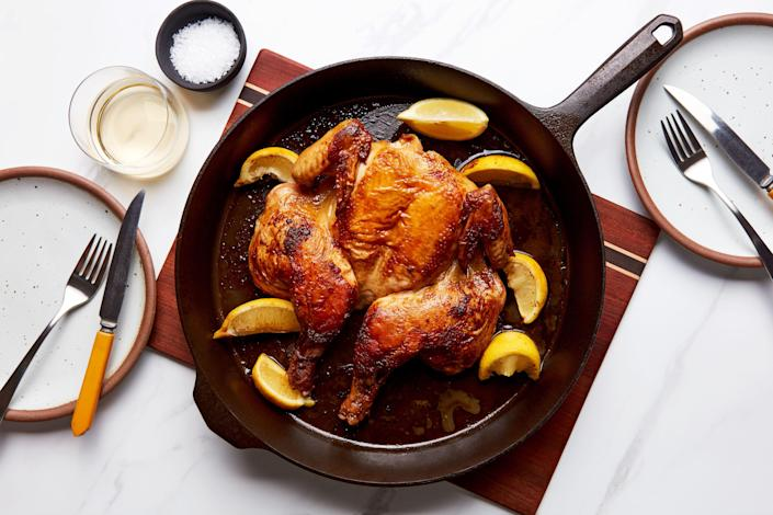"""It sounds unbelievable, but it's true: You can <a href=""""https://www.epicurious.com/recipes-menus/how-to-roast-a-chicken-in-as-little-as-18-minutes-article?mbid=synd_yahoo_rss"""" rel=""""nofollow noopener"""" target=""""_blank"""" data-ylk=""""slk:roast a chicken in 18 minutes"""" class=""""link rapid-noclick-resp"""">roast a chicken in 18 minutes</a>. There are a few key cheffy tricks, though, that are needed to make it happen. <a href=""""https://www.epicurious.com/recipes/food/views/quick-roast-chicken?mbid=synd_yahoo_rss"""" rel=""""nofollow noopener"""" target=""""_blank"""" data-ylk=""""slk:See recipe."""" class=""""link rapid-noclick-resp"""">See recipe.</a>"""