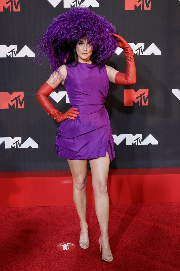 <p>Kacey Musgraves wearing Valentino Haute Couture at the 2021 MTV VMAs.</p><p>Photo: Jamie McCarthy/Getty Images for MTV/ ViacomCBS</p>