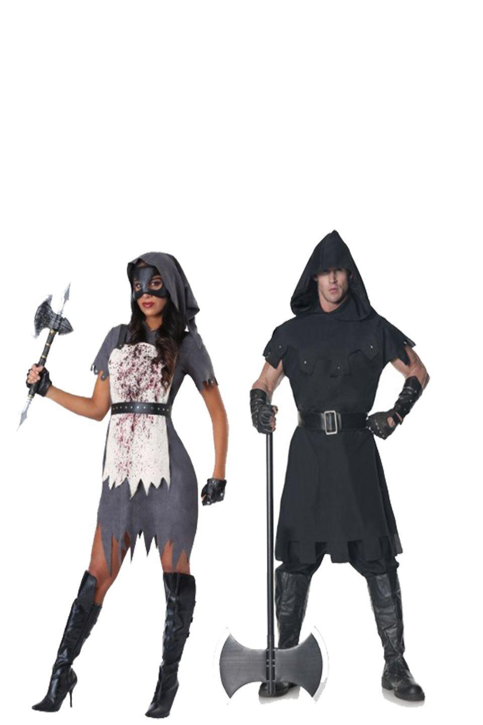 """<p>When you show up to a Halloween party in this intense and scary apparel, every will know not to mess with you.</p><p><a class=""""link rapid-noclick-resp"""" href=""""https://www.amazon.com/Leg-Avenue-Executioner-Medieval-Costume/dp/B01DZWZFM2?tag=syn-yahoo-20&ascsubtag=%5Bartid%7C10070.g.28669645%5Bsrc%7Cyahoo-us"""" rel=""""nofollow noopener"""" target=""""_blank"""" data-ylk=""""slk:Shop Women's Costume"""">Shop Women's Costume</a></p><p><a class=""""link rapid-noclick-resp"""" href=""""https://www.amazon.com/Underwraps-Mens-Executioner-Black-Size/dp/B00CMIBDMW?tag=syn-yahoo-20&ascsubtag=%5Bartid%7C10070.g.28669645%5Bsrc%7Cyahoo-us"""" rel=""""nofollow noopener"""" target=""""_blank"""" data-ylk=""""slk:Shop Men's Costume"""">Shop Men's Costume</a></p>"""