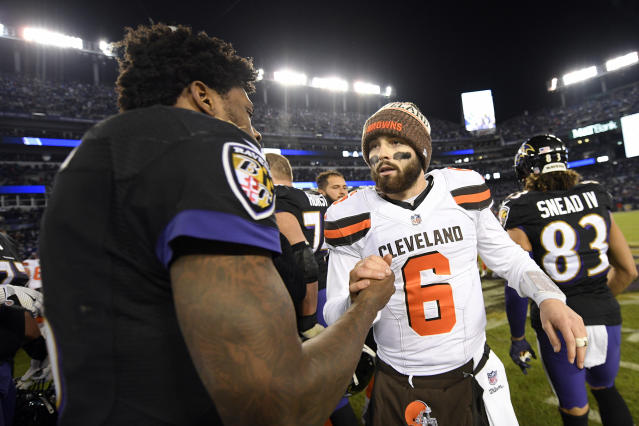 Cleveland Browns quarterback Baker Mayfield, right, speaks with Baltimore Ravens quarterback Lamar Jackson after an NFL football game, Sunday, Dec. 30, 2018, in Baltimore. Baltimore won 26-24. (AP Photo/Nick Wass)