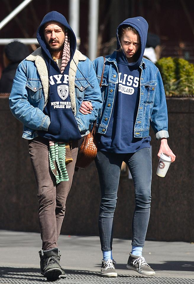 "<p class=""MsoNormal"">Shia LaBeouf is obviously a firm believer in the idea that the couple who wears the same grungy outfit together stays together. Right? Discuss. (3/10/13)</p>"