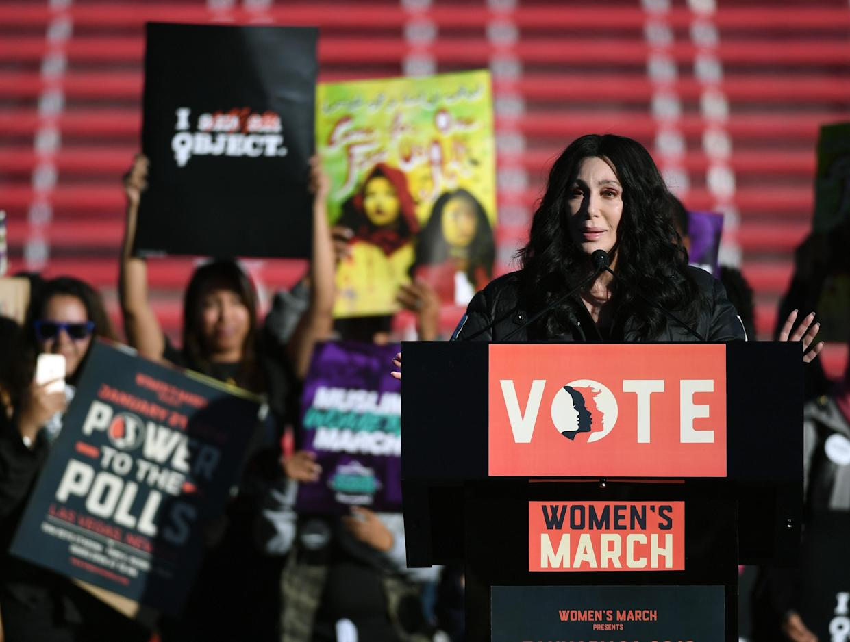 Cher at the Power to the Polls Women's March voter registration tour launch at Sam Boyd Stadium on Jan. 21 in Las Vegas. (Photo: Getty Images) <br>