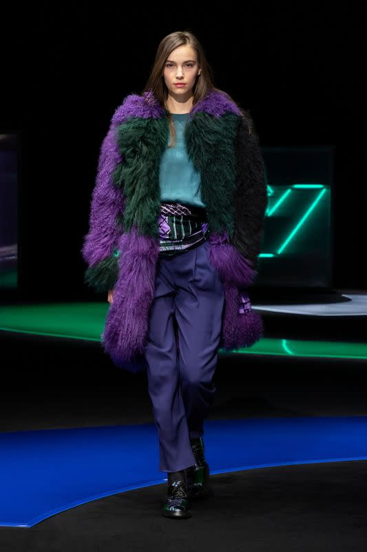 Emporio Armani presents Fall/Winter 2021/2022 women's collection during a live-streamed show at the Milan Fashion Week