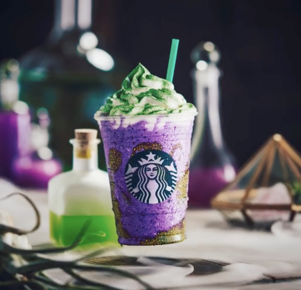 """<p><a href=""""https://www.delish.com/food-news/a24174710/starbucks-witchs-brew-frappuccino/"""" rel=""""nofollow noopener"""" target=""""_blank"""" data-ylk=""""slk:It...it tastes like a creamsicle"""" class=""""link rapid-noclick-resp"""">It...it tastes like a creamsicle</a>! Even though...even though it looks like <em>that</em>! Have you ever heard of anything more magical!? </p>"""