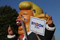 A Donald Trump inflatable is seen in a street after the media announcement that Democratic Party nominee Joe Biden has won the 2020 US presidential election. (Photo by Yegor Aleyev\TASS via Getty Images)
