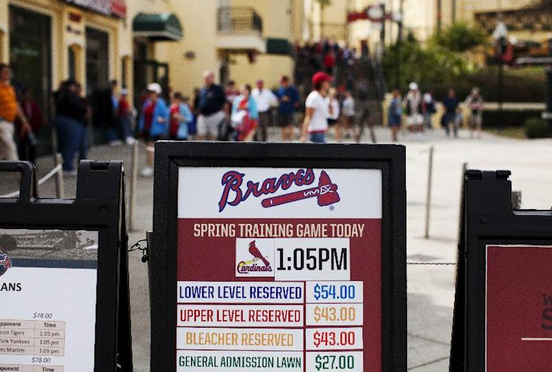 This Tuesday, March 12, 2013, photo shows a sign with ticket prices for spring training baseball games outside the box office at Champion Stadium, home of the Atlanta Braves, in Kissimmee, Fla. Spring training attendance is off and several things are to blame, including pricey tickets, an early start, cold weather and lineups depleted by injured stars and players dispatched to the World Baseball Classic. (AP Photo/Evan Vucci)
