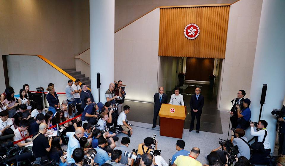 Hong Kong Chief Executive Carrie Lam addresses the media on Wednesday. She said she would formally withdraw the controversial extradition bill and set up a platform to examine the causes behind the protests the city has faced for 13 weeks now. Photo: Reuters