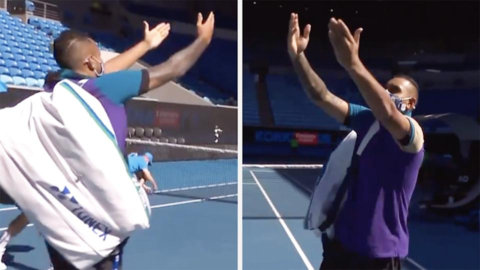 Nick Kyrgios mimicked Novak Djokovic's match-winning celebration as he walked out to an empty arena for his second round doubles match on Sunday. Pictures: Channel 9