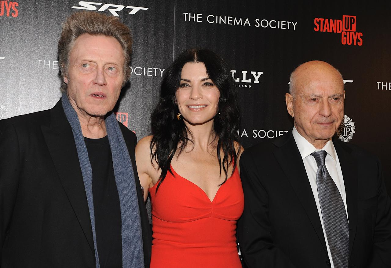 "NEW YORK, NY - DECEMBER 09:  (L-R) Actors Christopher Walken, Julianna Margulies and Alan Arkin attend the premiere of ""Stand Up Guys"" hosted by The Cinema Society with Chrysler and Bally at MOMA on December 9, 2012 in New York City.  (Photo by Fernando Leon/Getty Images)"