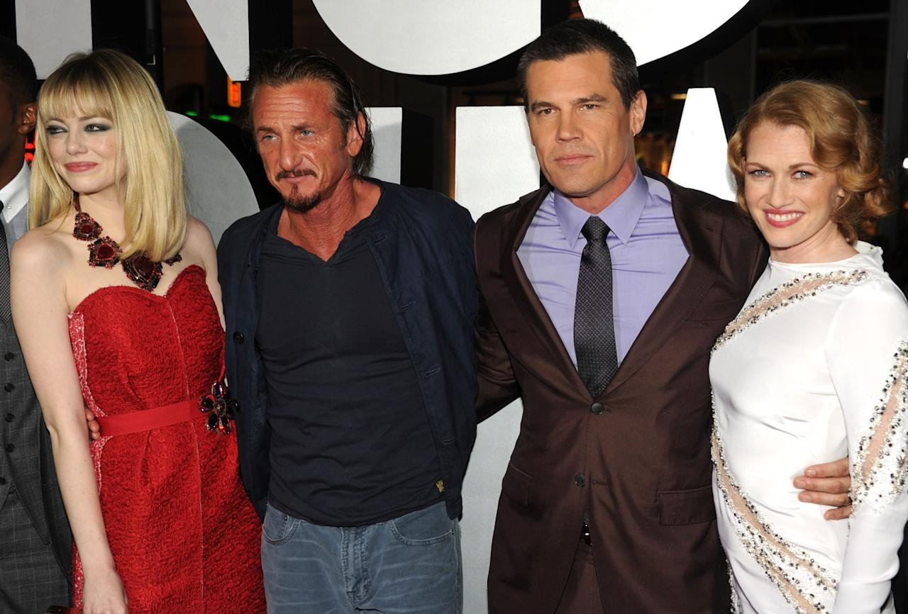 "HOLLYWOOD, CA - JANUARY 07:  (L-R) Actors Emma Stone, Sean Penn, Josh Brolin and Mireille Enos arrive at Warner Bros. Pictures' ""Gangster Squad"" premiere at Grauman's Chinese Theatre on January 7, 2013 in Hollywood, California.  (Photo by Kevin Winter/Getty Images)"