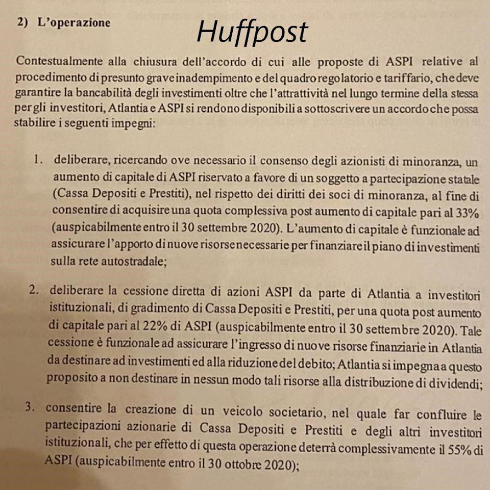 Lettera Atlantia (Photo: Huffpost)