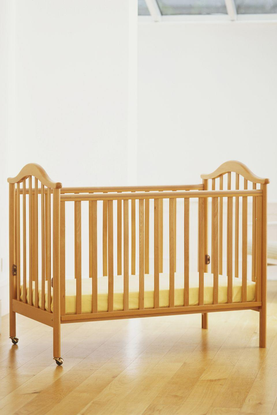 """<p>Over the decades, there have been millions of cribs recalled, in addition to improved crib safety standards put in place, according to <a href=""""https://www.healthychildren.org/English/ages-stages/baby/sleep/Pages/New-Crib-Standards-What-Parents-Need-to-Know.aspx"""" rel=""""nofollow noopener"""" target=""""_blank"""" data-ylk=""""slk:HealthyChildren.org"""" class=""""link rapid-noclick-resp"""">HealthyChildren.org</a>. Invest in a safe bed for your little one by purchasing one that's new and up to latest standards. </p>"""