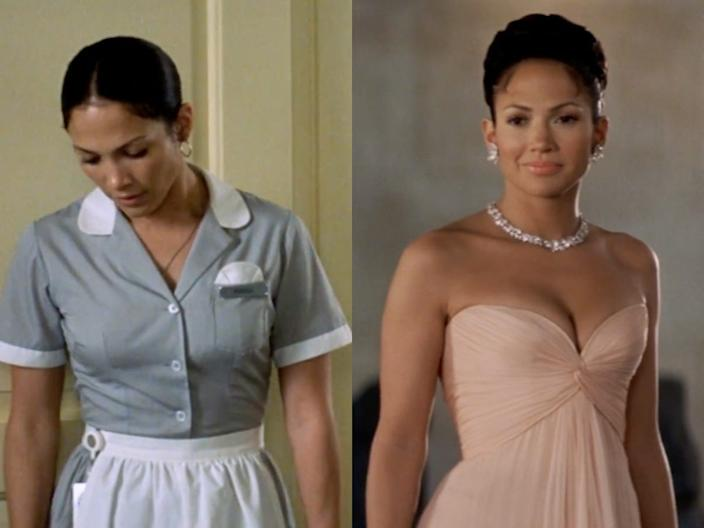 """Jennifer Lopez rocked two very different looks in """"Maid in Manhattan."""""""