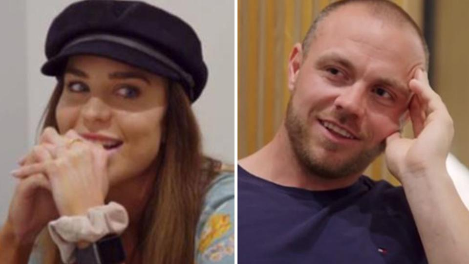 A composite image of Married At First Sight contestants Cameron Dunne and Coco Stedman