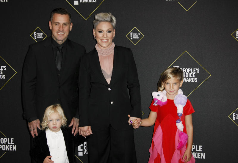 Pink, Carey Hart, Willow Sage Hart and Jameson Moon Hart attend the 2019 E! People's Choice Awards at Barker Hangar on November 10, 2019 in Santa Monica, California. Photo: imageSPACE/MediaPunch /IPX