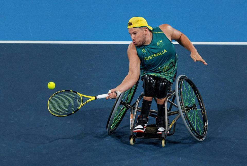 Dylan Alcott competes against Netherland's Sam Schröder in the quad singles wheelchair tennis gold medal match.