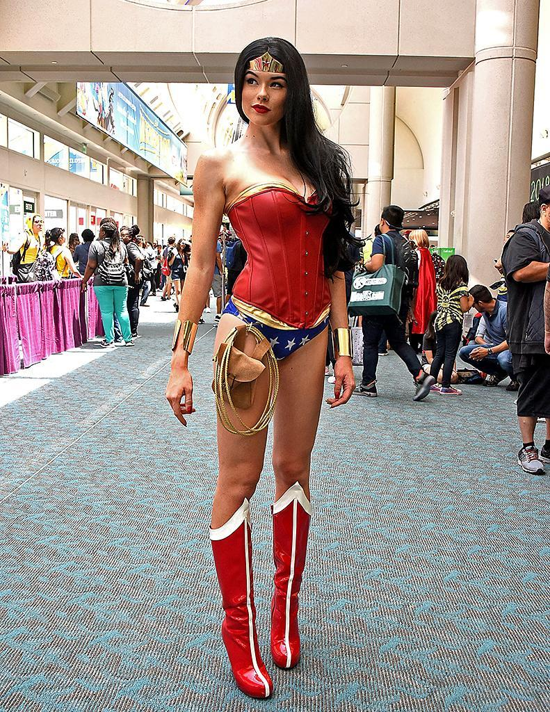 <p>Cosplayer dressed as Wonder Woman at Comic-Con International on July 19, 2018, in San Diego. (Photo: Araya Diaz/Getty Images) </p>
