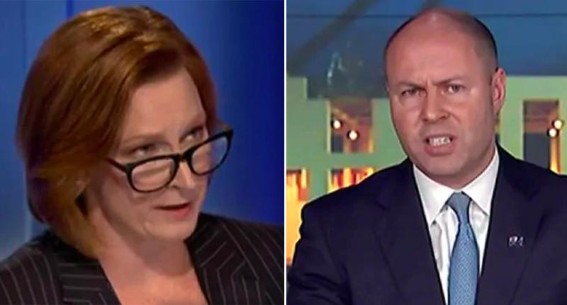Two photographs showing ABC commentator Leigh Sales and Federal Treasurer Josh Frydenberg.