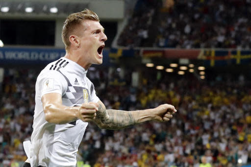Germany's Toni Kroos celebrates after he scored his side's second goal during the group F match between Germany and Sweden at the 2018 soccer World Cup in the Fisht Stadium in Sochi, Russia, Saturday, June 23, 2018. (AP Photo/Frank Augstein)