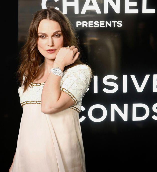 PARIS, FRANCE - MAY 02: Keira Knightley attends the Chanel J12 Watch Launch at Place Vendome on May 02, 2019 in Paris, France. (Photo by Julien M. Hekimian/Getty Images for Chanel)
