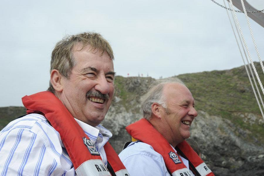 These pictures show Boycie actor John Challis ticking off one of his bucket list wishes before he died - launching down the slipway of a lifeboat station (August 09). See SWNS story SWPLboycie; Tributes have been paid to John Challis, best known for playing Boycie in BBC sitcom Only Fools and Horses, who has died at the age of 79. His family said he died