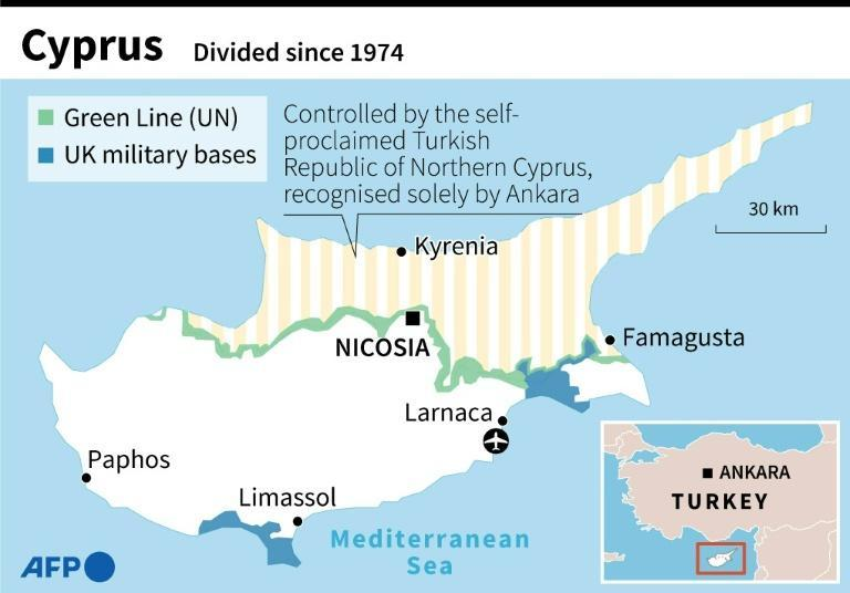 Map of Cyprus, an island divided since 1974