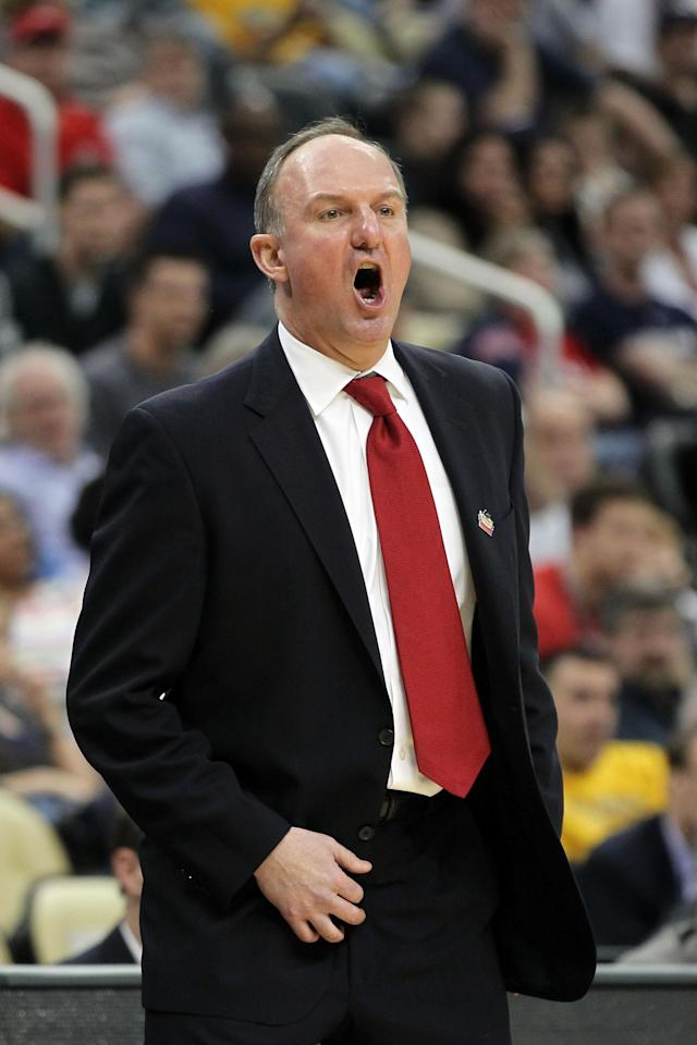 PITTSBURGH, PA - MARCH 15: Head coach Thad Matta of the Ohio State Buckeyes reacts during the second round of the 2012 NCAA Men's Basketball Tournament against the Loyola Greyhounds at Consol Energy Center on March 15, 2012 in Pittsburgh, Pennsylvania. (Photo by Gregory Shamus/Getty Images)
