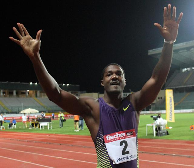 USA's Justin Gatlin reacts after winning in the Men's 100m, at the Padua Athletics meeting, Italy, Friday, Sept. 3, 2010. (AP Photo/Felice Calabro')