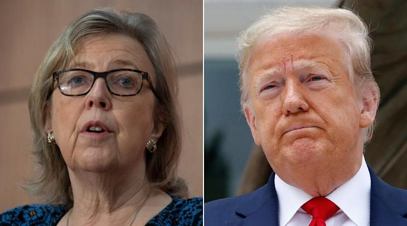 Green Party parliamentary leader Elizabeth May and U.S. President Donald Trump are shown in a composite of images from The Canadian Press. (Photo: CP)
