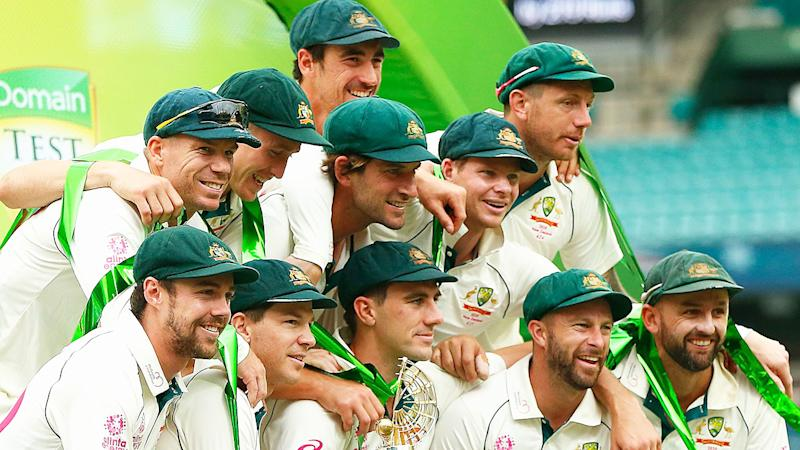 The Australian Test team is pictured celebrating after their series victory over New Zealand in January, 2020.