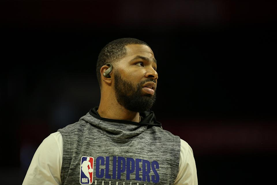 LA Clippers forward Marcus Morris Sr. (31) wearing Beats wireless headphones before the Los Angeles Lakers versus Los Angeles Clippers on Sunday March 8, 2020, at Staples Center.