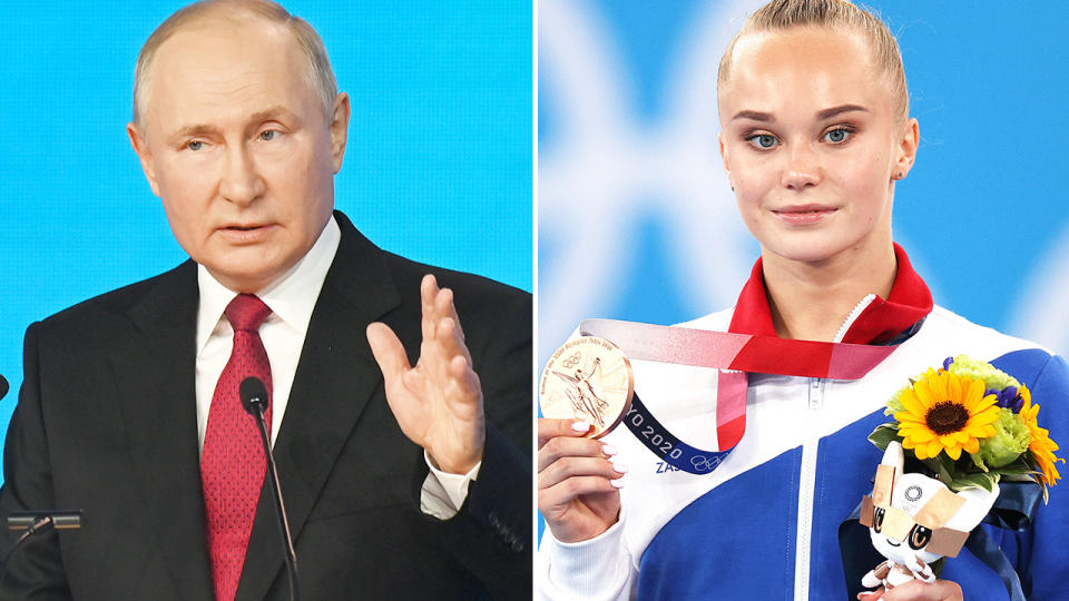 Angelina Melnikova, pictured here after winning gold at the Olympics.