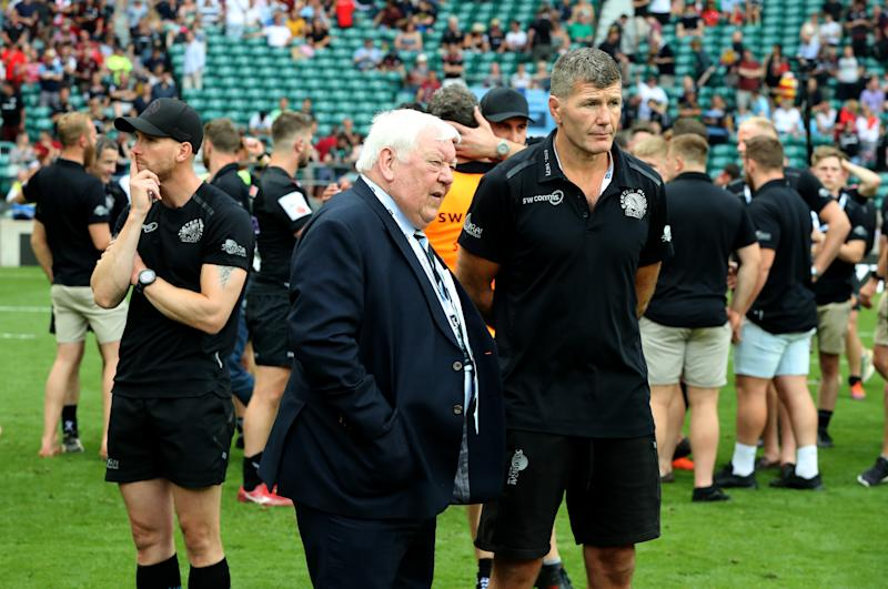 LONDON, ENGLAND - JUNE 01: Rob Baxter, (R) the Exeter Chiefs director of rugby and Chiefs owner Tony Rowe look dejected after their defeat during the Gallagher Premiership Rugby Final between Saracens and Exeter Chiefs at Twickenham Stadium on June 01, 2019 in London, United Kingdom. (Photo by David Rogers/Getty Images)
