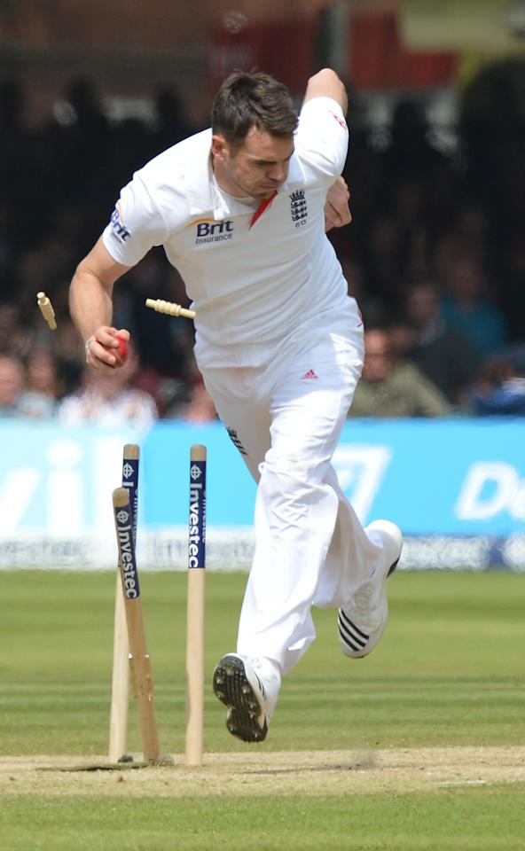 England's James Anderson takes the final New Zealand wicket, running out Neil Wagner for 17 during the first test at Lord's Cricket Ground, London.