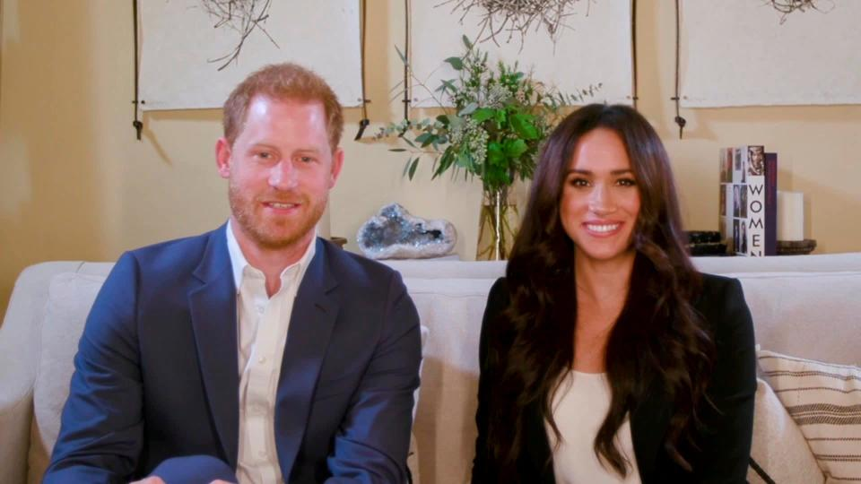 This screengrab released by Time shows Harry and Meghan, the Duke and Duchess of Sussex, hosting a special Time100 talk Tuesday, Oct. 20, 2020, focusing on the digital world (Time via AP)