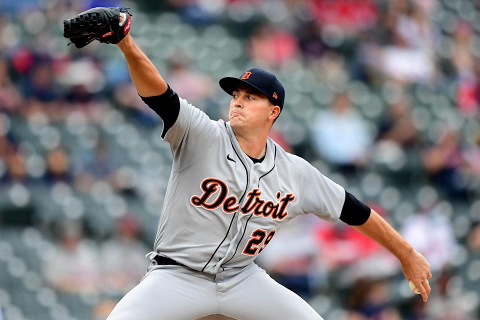 Tarik Skubal of the Detroit Tigers delivers a pitch in the first inning during a game against Cleveland at Progressive Field on April 10, 2021 in Cleveland, Ohio.