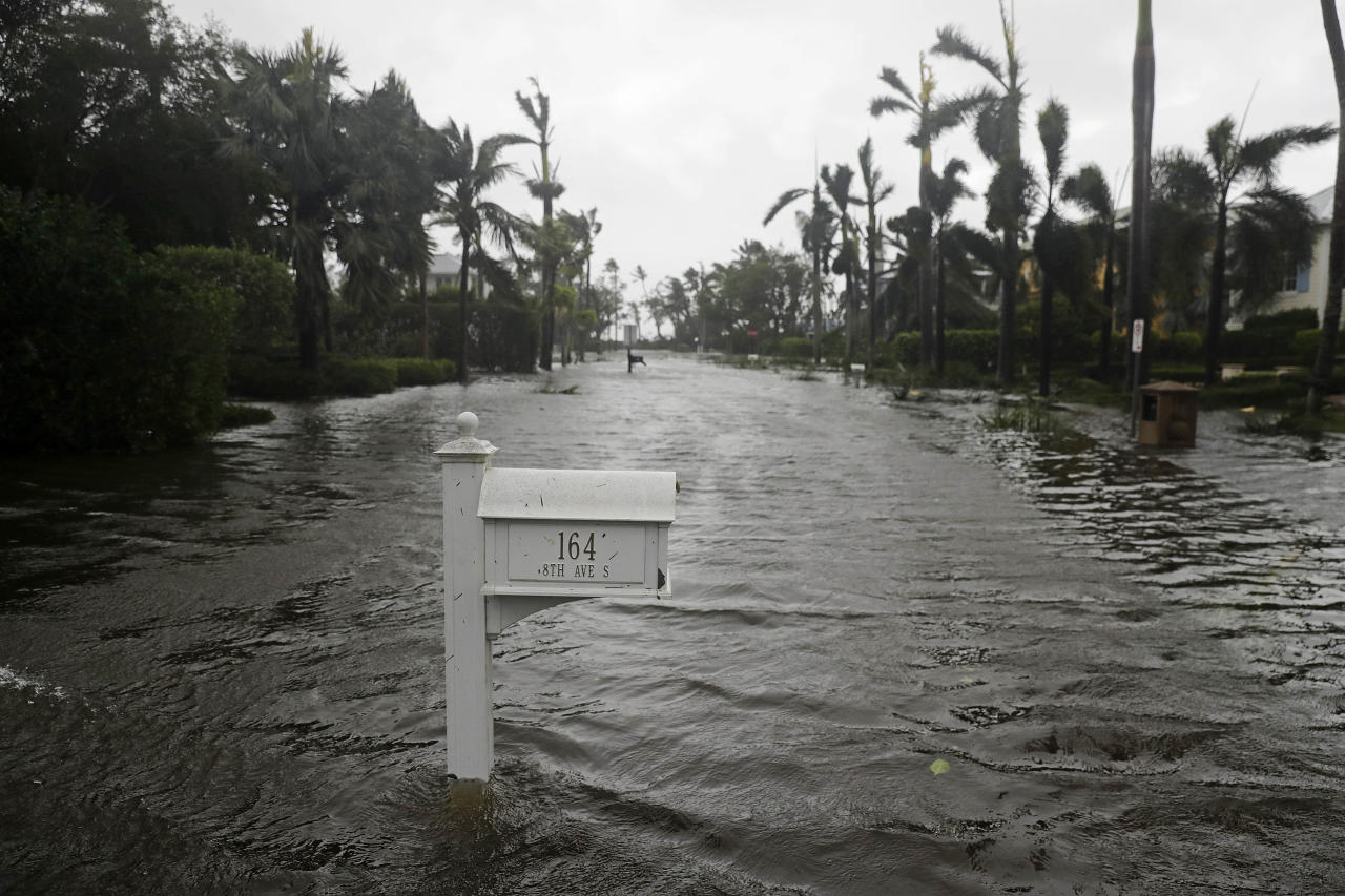 <p></p><p>A street is flooded as Hurricane Irma passes through Naples, Florida.More than four million homes remain without power throughout the state and large parts of the city of Miami are under water. (AP Photo/David Goldman) </p><p></p>