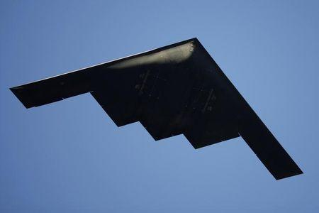 B-2 Stealth Bomber performs a flyover at the 126th Rose Parade in Pasadena, California
