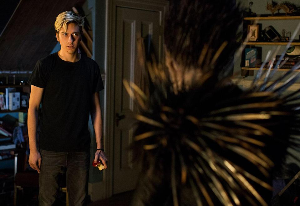 Nat Wolff's Light is haunted by Ryuk, a demonic god of death who sets out the rules of the Death Note. (Netflix)