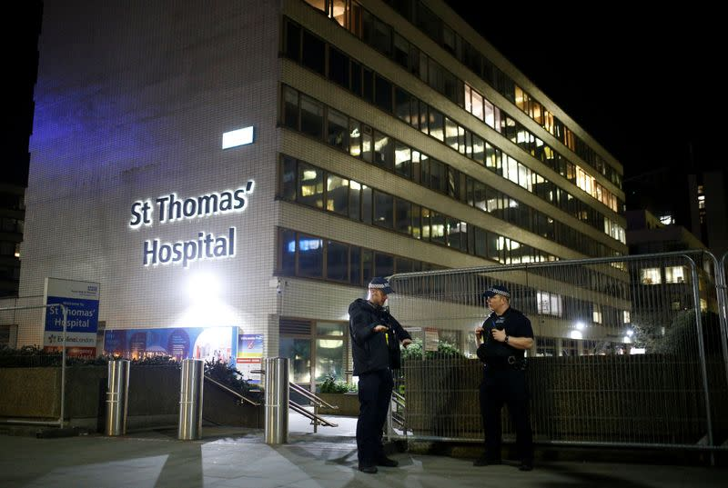 Police officers outside of the St Thomas' Hospital after British Prime Minister Boris Johnson was moved to intensive care