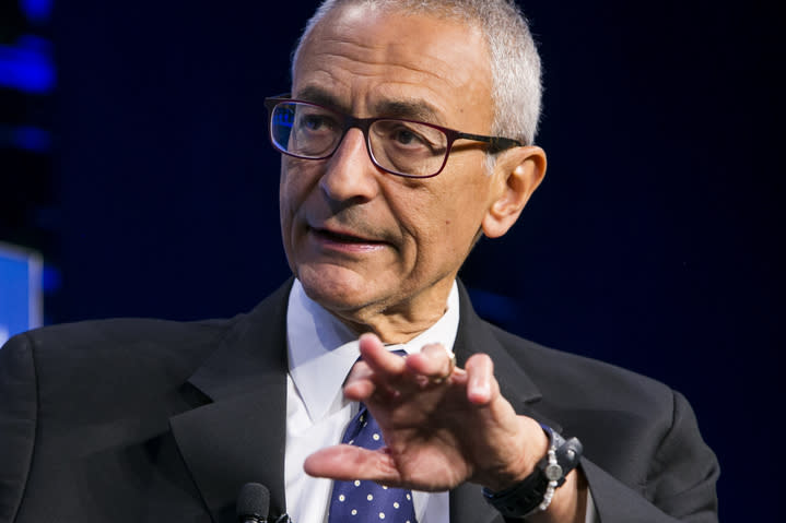 John Podesta is interviewed during a Washington Post Daily 202 Live event.