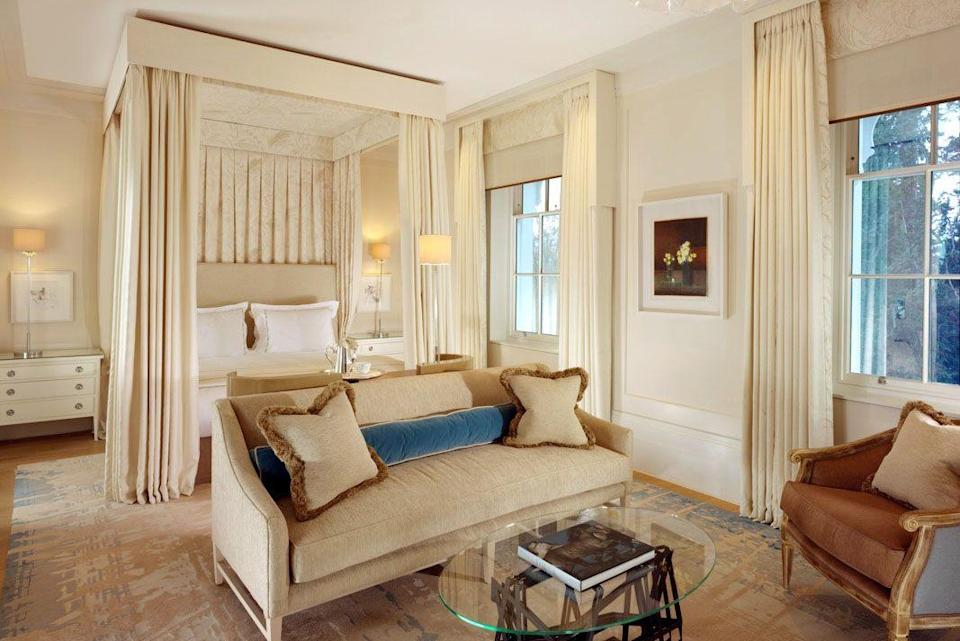"""<p>If you're looking for unadulterated luxury in a bucolic setting, then Coworth Park is the ultimate destination. Favoured by celebrities and royals alike, this five-star 17th-century country house is situated within 240 acres of grounds, complete with a tennis court, state-of-the-art spa, indoor pool, library and equestrian centre. The rooms offer a Downton Abbey level of grandeur, combined with modern twists - expect roomy four poster beds, gilded mirrors and copper roll tub baths and indulgently plump chaise longues, combined with huge TVs and Nespresso machines. The uniformed staff are everything you might expect from a property as stately as this - polished, friendly and utterly welcoming. The crowning jewel is Dower House, a grade II-listed Georgian building not far from the main hotel, where the Duke of Sussex stayed the night before his wedding. Whether you come for the eco spa, the Michelin-starred food or the meandering meadows or a mix of all three, you'll leave Coworth Park feeling pampered and rested.</p><p><a href=""""https://www.dorchestercollection.com/en/ascot/coworth-park/?gclid=CjwKCAjwltH3BRB6EiwAhj0IUBwo3dSP4hio6nIK3sYhn4Lib-F1z9LIXFpc5Wdvlfk-15UDnIlYthoC0U4QAvD_BwE"""" rel=""""nofollow noopener"""" target=""""_blank"""" data-ylk=""""slk:Coworth Park,"""" class=""""link rapid-noclick-resp"""">Coworth Park,</a> prices start at £405 per night</p>"""