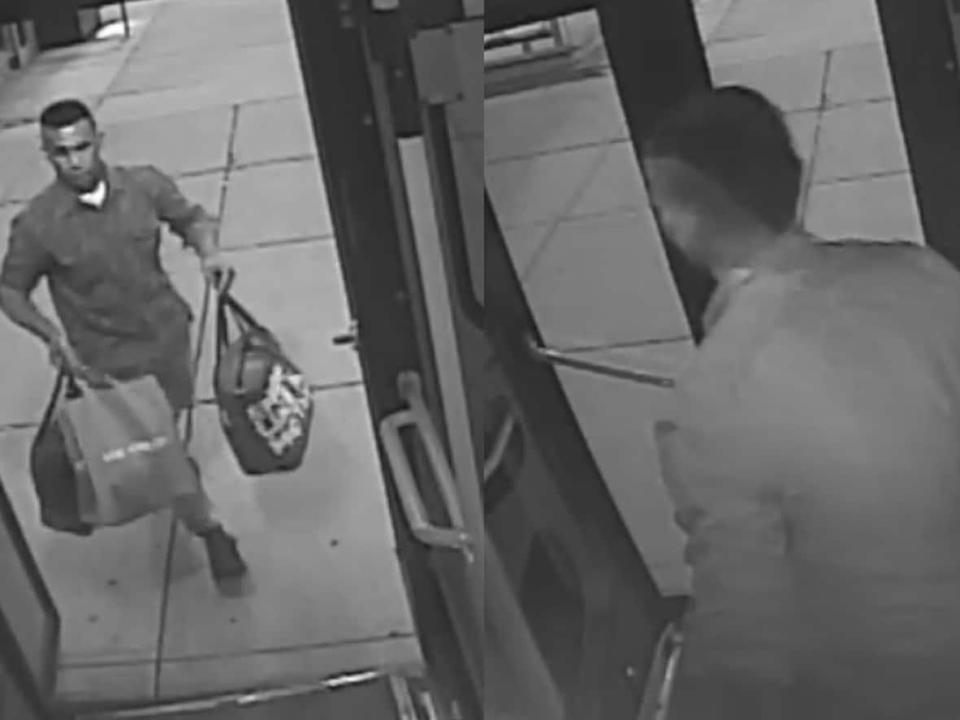 The Calgary Police are asking for the public's help to identify a sexual assault suspect seen here in these bus security camera images. (Calgary Police Service - image credit)