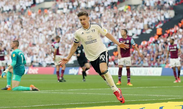 Fulham's Tom Cairney celebrates after scoring at Wembley.
