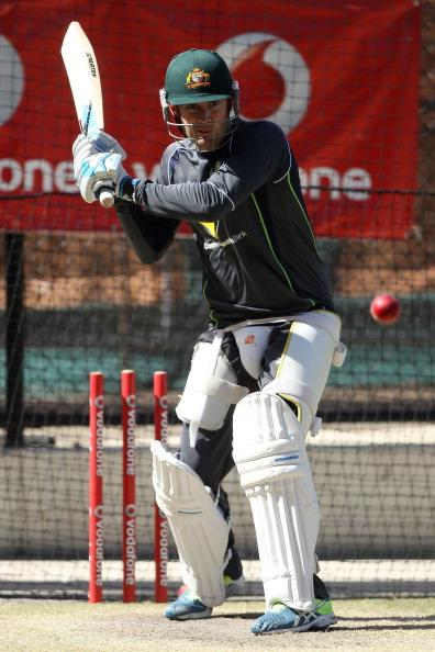 ADELAIDE, AUSTRALIA - NOVEMBER 21: Michael Clarke bats during an Australian training session at Adelaide Oval on November 21, 2012 in Adelaide, Australia.  (Photo by Morne de Klerk/Getty Images)