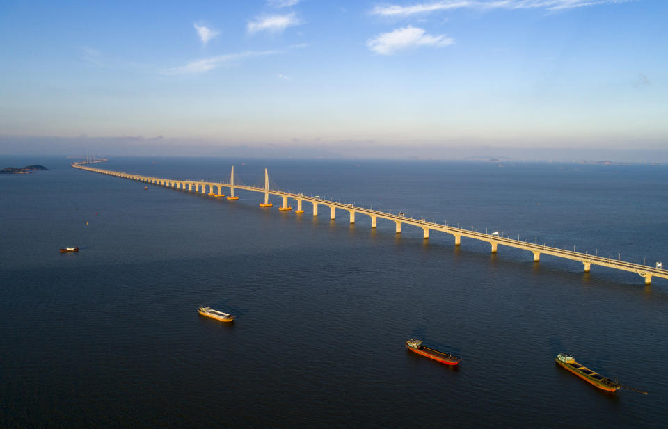<p>The bridge is a key component in China's plan to develop the 'Greater Bay Area', which covers 56,000 sq km. (Getty) </p>